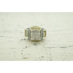 Other - Mens 14K White Gold  Ring with White Yellow Blue D